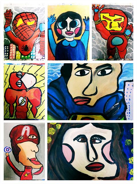 children and kids art superheroes spiderman superman wonderwoman ironman